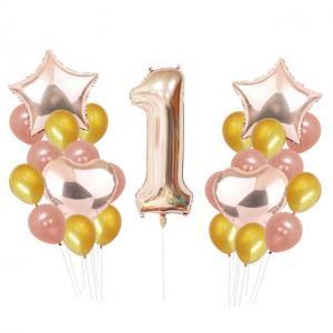 1st Birthday Ballong Bukett i RosaGuld.