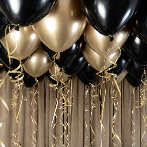 Ballongtak Bukett Guld Chrome/Svart. 30 Pack