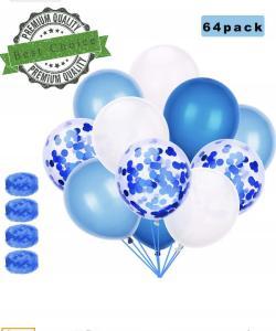 Blåa och Vita Latex och Konfetti ballong Set: 64 Pack