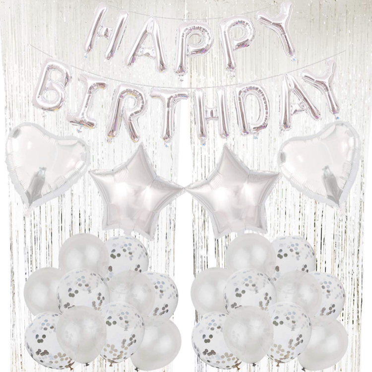 Happy Birthday Dekorations Kit i Silver. All inklusive set.