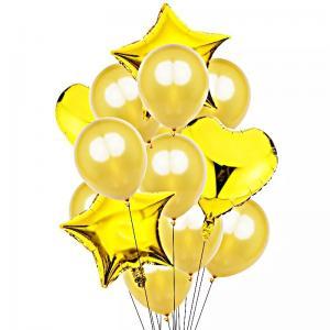 Ballong Bukett i Guld. 14 Pack