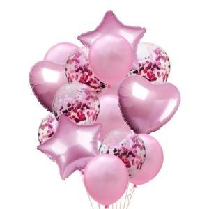 Ballong Buket i Ljus Rosa. 14 Pack