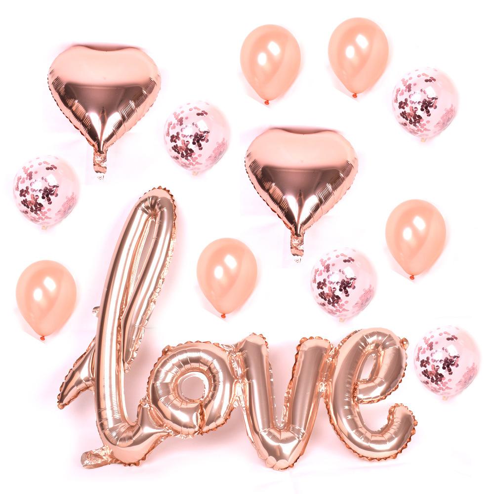 LOVE Dekoration set RosaGuld. 13 pack