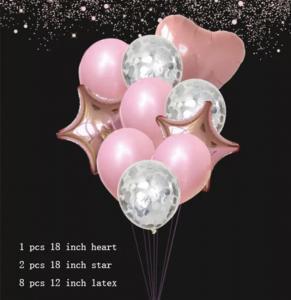 Ballong Bukett i Rosa/RosaGuld/Silver. 11 delar.