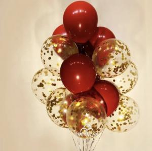 Ballong Bukett i Cherry Röd/Guld Konfetti. 10 pack.