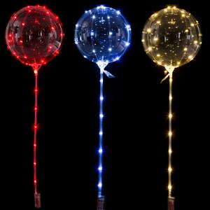 LED Ballong med Pinne i Röd, Blå, Guld.