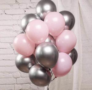 Ballong Bukett I Rosa/Silver Chrome. 20 Delar