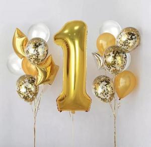 1st Birthday Ballong Bukett i Guld.