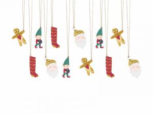 Hängande Jul Etiketter Santa. 12 Styck