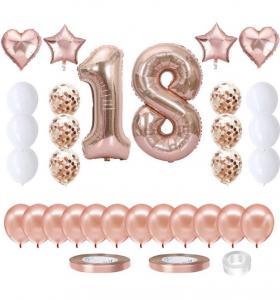 18th BIRTHDAY Ballong set i Rosaguld.