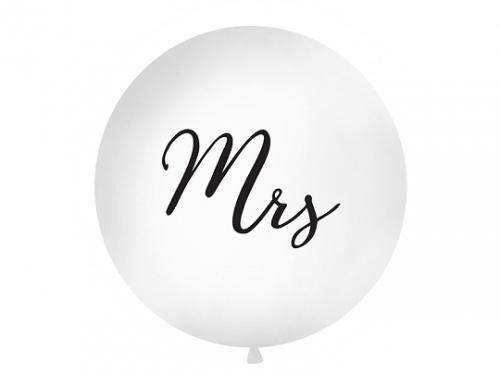 Giant Ballong I Vit med Tryck Mrs. 1 styck. 1M.