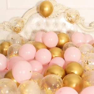 Ballong Bukett I Pastell Rosa/Guld Konfetti. 30 Pack