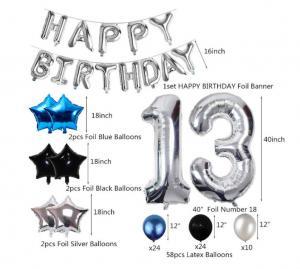 13th Happy Birthday Dekorations Kit I Blå/Silver/Svart. All inklusive set. StorPack.