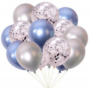 Ballong bukett I Blå/Silver konfetti Chrome. 15 Pack.