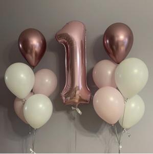 1st Birthday Ballong Bukett i Rosegold.