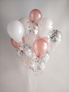 Ballong Bukett i RosaGuld/Pärlvit. 25 Delar.