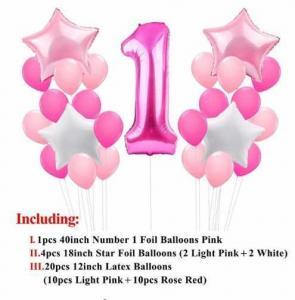 1st Birthday Ballong Bukett i Rosa.