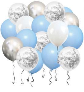 Ballong Bukett i Pastell Ljus Blå/Silver Chrome. 50 delar.