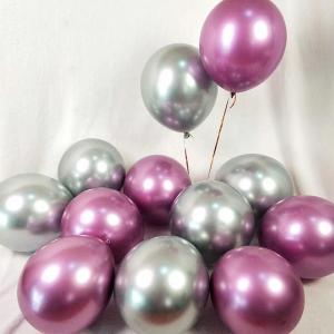 Chrome i Silver/Rosa Ballong Bukett. 10 Pack.