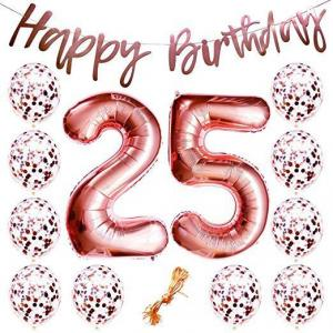 25th Birthday Ballong Bukett i Rosaguld.