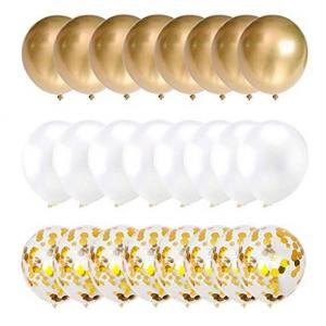 Ballong Bukett i Guld/Pärlvit. 30 Pack
