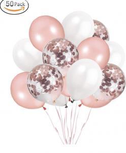 Ballong Bukett i RosaGuld/Vit. 50 pack