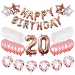 20th HAPPY BIRTHDAY Ballong set i Rosaguld/Silver.