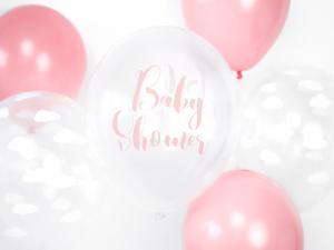 Baby Shower ljus rosa Ballong med tryck. 10 pack. 30cm