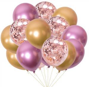 Ballong bukett I Rosa/Guld konfetti Chrome. 15 Pack.