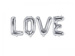 LOVE  Silver Folie Ballong. Underbar Kvalitet.