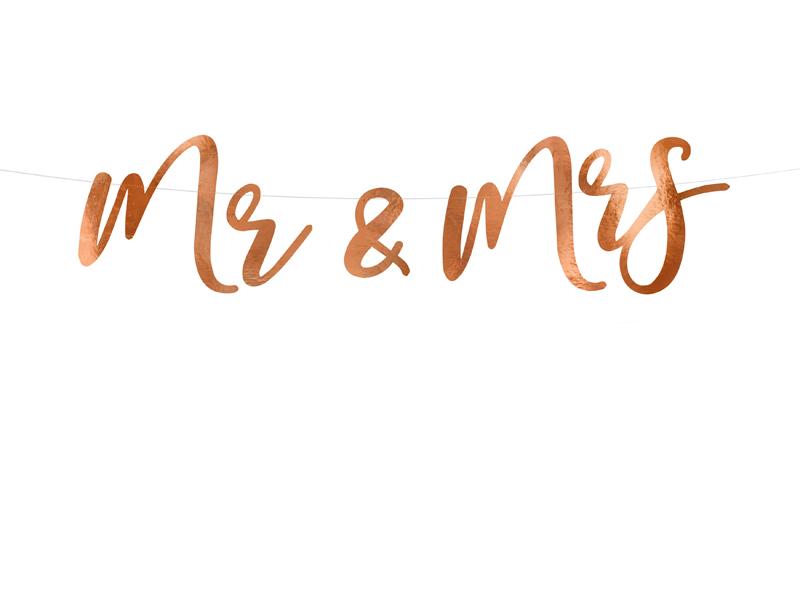 Mr & Mrs- Girlang i Rosaguld. 16.5 x 68cm