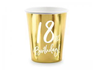 18th Birthday Guld Folie MUGGAR. 6 Pack. 220ml