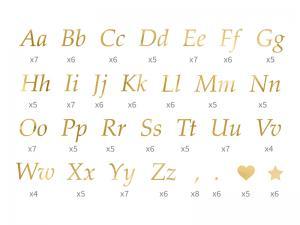 Bokstäver Klistermärken i Guld.