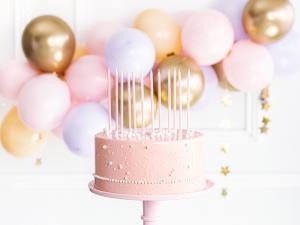 Cake Ljus i ljus rosa. 14cm. 12 Styck