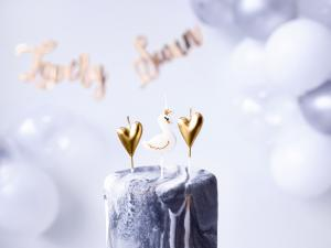 Cake Ljus Lovely Swan/Heart. 4cm. 6 Styck