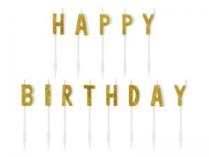 Cake Ljus happy Birthday Guld. 2,5cm.