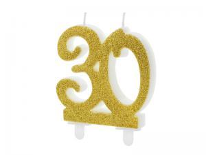Cake Ljus - 30 i guld, 7.5cm