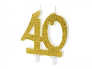 Cake Ljus - 40 i guld, 7.5cm