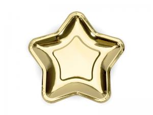 Guld Folie PAPPERSTALLRIKAR Stjärna. 6 pack 23cm