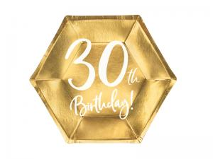30th Birthday Guld Folie PAPPERSTALLRIKAR. 6 pack. 20cm