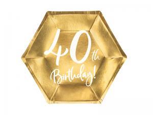 40th Birthday Guld Folie PAPPERSTALLRIKAR. 6 pack. 20cm