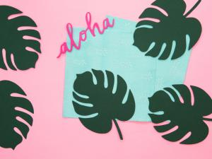 Aloha Blad - Dekorationsblad. 6 Styck. 14.5 x 11 cm