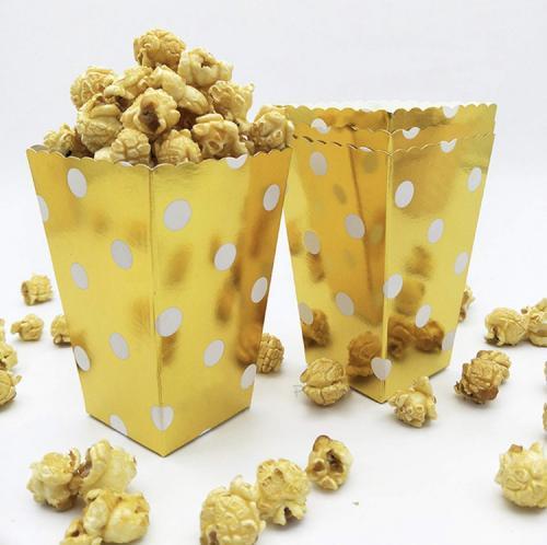 Popcornboxar i Guld. 8 Pack.