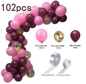 DIY Ballongbåge - Burgundy/Rosa. 102 Delar