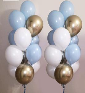 Ballong Bukett i Pastell Blå/Guld. 30 Pack