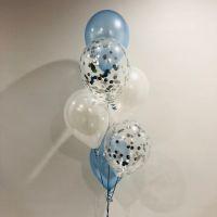 Ballong Bukett Ljus Blå/Pärlemor. 9 Pack