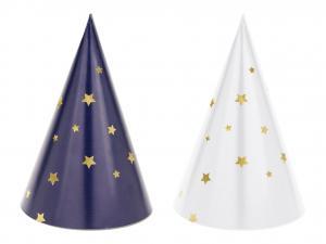 Party Hat I Vit/Blå med Stjärna. 6 styck. 11cm