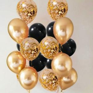 Ballong Bukett i Guld/Svart 18 pack.