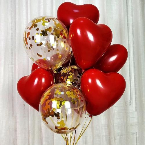 Ballong Bukett Hjärta/Konfetti. 10 Pack