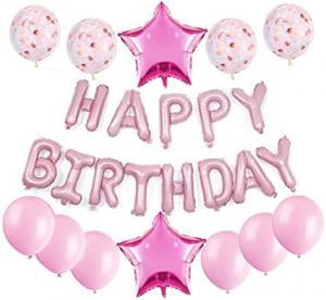 """""""Happy Birthday"""" Ballong set i Rosa."""